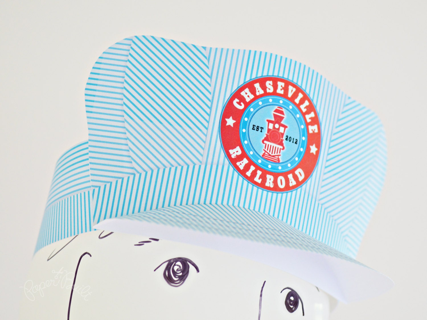 Printable train birthday party conductor hat customized from zoom pronofoot35fo Gallery