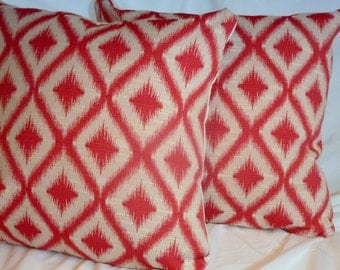 Ikat Pillow - Ikat pillow covers - Robert Allen Designer Fabric - 18x18 or 20x20 - Raspberry, Ivory  - Decorative Pillow Cover - Pillows