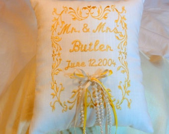 Ring Bearer Pillow -  Wedding Pillow - Embroidered Ring Bearer Pillow - Personalized Wedding Pillow - Linen Pillow - Ring Pillow