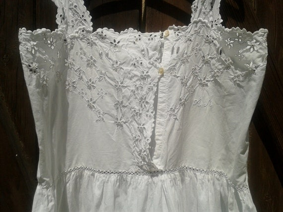 Wedding Dress Cutout and Lace Handmade Cotton White Antique 1900s French Monogram Embroidered  Heart and Flower Design Vintage Women Medium