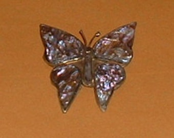 Mother of Pearl & Sterling Silver Butterfly Pin or Brooch 1980's Jewelry