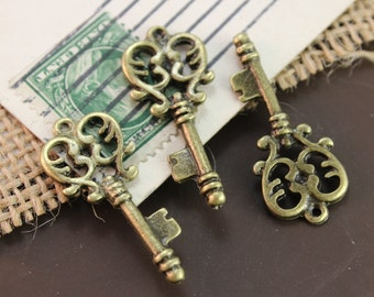 10 Key Charms Pendants Antique Bronze Tone Skeleton keys Double Sided 32 mm/1-1/4 inch