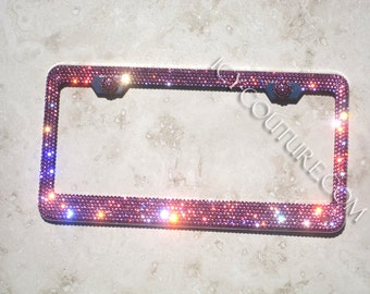 rose pink swarovski crystal bling license plate frame