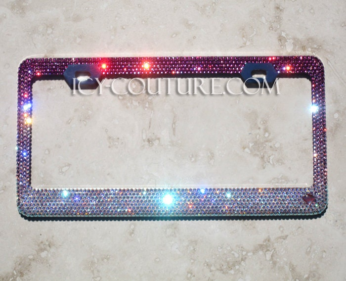pink fade swarovski crystal bling license plate frames zoom