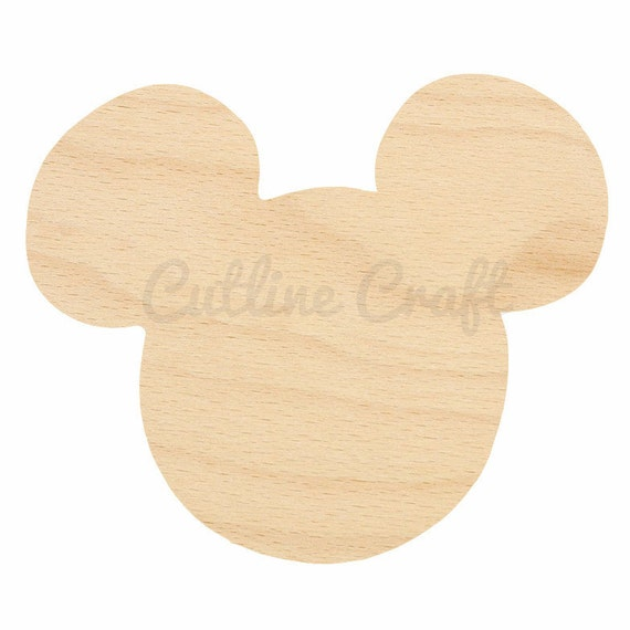 Mickey Mouse Ears Cutout 312 Shapes Crafts, Gift Tags Ornaments Laser Cut Birch Wood Various Sizes