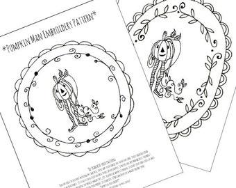 Halloween Pumpkin Man Embroidery Pattern Printable Digital Downloadable 0067