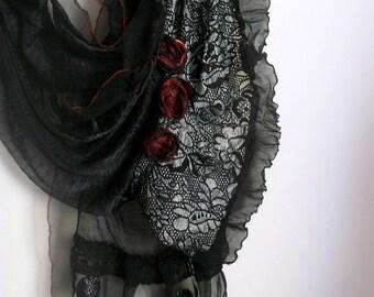 Black scarf, Black chiffon scarf, Black design scarf, Bride's mother shawl, Women Fashion, Age shawl, Black lace shawl, Black feminine Scarf