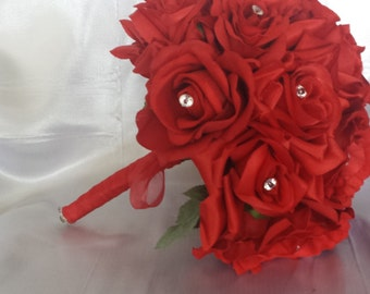 Wedding Bouquet - Red Rose Wedding Bouquet, Faux Flowers, Fake Flower, Red Wedding