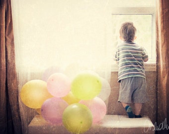 8x10 Print, Fine Art Photography, Child and window, Baloons, Envy, Pastel Colours, Earthy Tones, Nursery Wall Art, soft colors