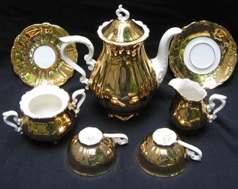 Bavaria Mayer Wiesau 1840 Gold and White Porcelain Demitasse Set Vintage