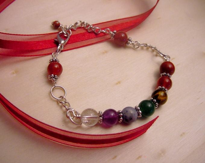 7 Chakra Bracelet Chain Bracelet, Semi Precious Stones, Reiki Jewelry, Wire Wrapped, Valentines Day Gift Idea