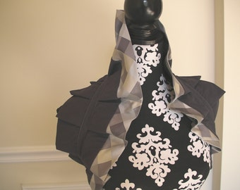 Matte Grey and Tiles Tie-On Ruffle Shrug Wrap