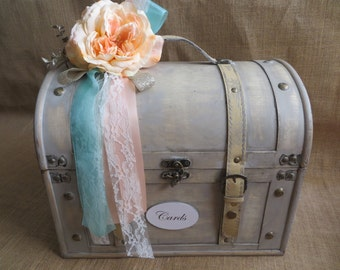 Very large Shabby Chic Cream Wedding Trunk, Wedding Card Holder, Money Holder, Money Box, Wedding Suitcase, Rustic Wedding