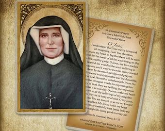 St. Faustina Holy Card / Prayer Card, Catholic Art #0081