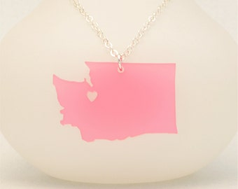 Acrylic Washington State Necklace, Custom Made LDR Necklace, Custom Made Going Away Gift, Long Distance Relationship, Personalized Jewelry