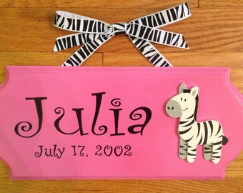 Personalized Wooden Name Plaque in English, French, Greek, Hebrew or Irish (or language of your choice)