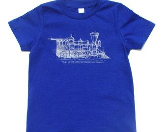 Vintage Train Locomotive Kid's Tshirt, Blue, 2T, 4T, 6T
