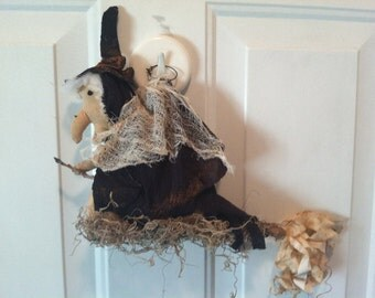 Primitive Halloween Flying Witch