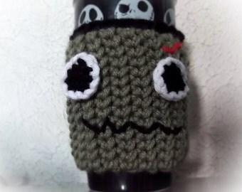 Dead cup cozy, cup sleeve, halloween cup sleeve, zombie sleeve, frankenstein cozy, cup cozy, green cup sleeve, green cup cozy, zombie cup
