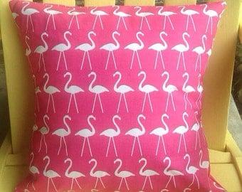 Pink flamingo pillow cover