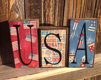 4th of July wood blocks-USA let freedom ring