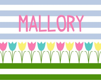 Personalized Placemat - pastel tulip spring 12x18 laminated placemat