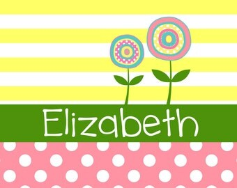 Personalized Placemat - pastel flower spring 12x18 laminated placemat