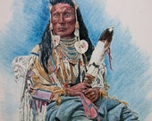 Fine ARt Print of A Crow Native American Chief from an 8x10 Pen and Ink Original
