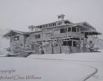 Architecture- Greene and Greene's Gamble House- Craftsman Style Pen and Ink Fine ARt Print