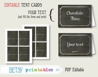 Chalkboard tent card or place card, Editable labels, chalkboard digital labels, PDF labels - INSTANT DOWNLOAD  243