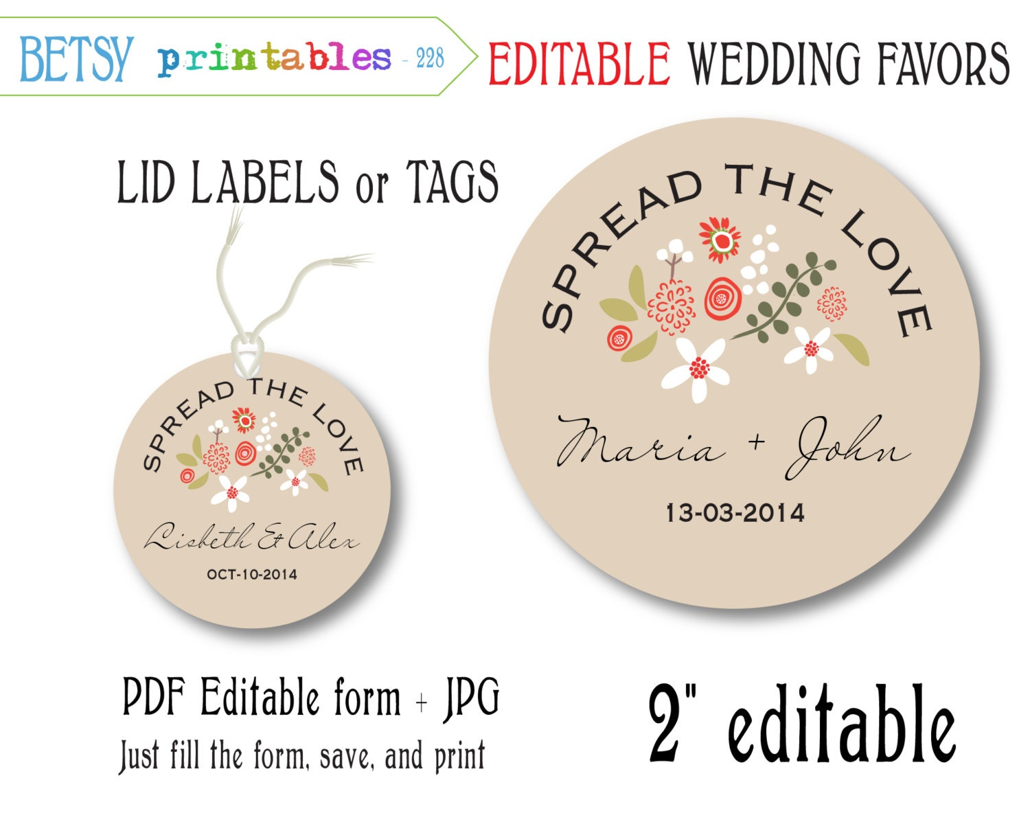 Wedding Favor Tags For Mason Jars : Mason jar Wedding favor for jam editable tags editable