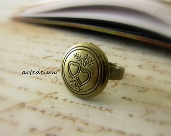 Locket ring Adjustable ring Romantic vintage ring Antique style christmas gift for her