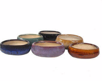 Oval Glazed Ceramic Clay Planters Small Containers For Small Dish Gardens, Succulents Gifts Favors Five Color Choices