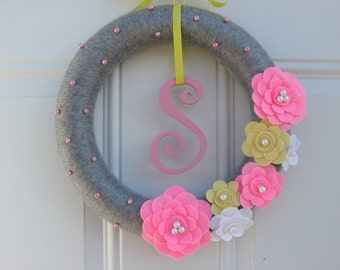 Initial Wreath-Yarn Wreath, Pink, Yellow, White and Grey with Initial wreath felt flower and yarn wreath 12 inches, Door Decoration