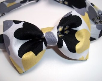 Gray Yellow Bow Tie -Gray Yellow Wedding Tie-Gray Yellow Ring Bearer Bow Tie-Gray Yellow Bow Tie-Suit Accessory