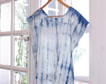 Silk top, Natural Indigo hand dyed, Shibori blouse, tie dye boho tshirt, S or M size