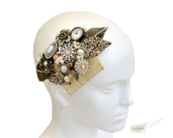 Swarovski crystal 1920s Art Deco Gold Cream Ivory Pearl Classic Vintage Bridal Hair Comb Piece Slide