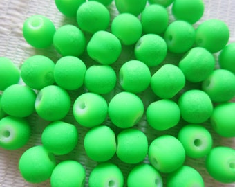 24  Neon Coated Bright Green Round Glass Beads   6mm