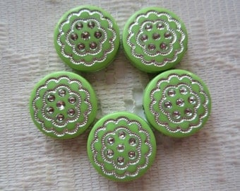 10  Light Lime Green & Silver Etched Flat Round Coin Acrylic Beads  16mm