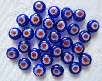 27  Royal Blue Red & White Flower Millefiori Rounded Button Lampwork Glass Beads  6mm