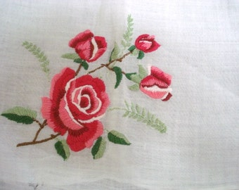 Wonderful  Vintage Handkerchief Hand Embroidered Roses