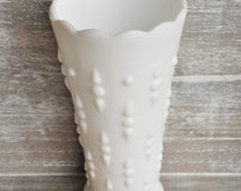Vintage Cottage Chic- White Milk Glass Teardrop Vase