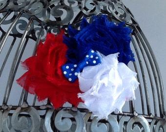 Red, white and blue hair clip, patriotic hair accessory, girls hair clips, shabby flower hair clip, royal blue hair clip hair accessory.