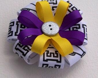 Purple & Yellow Round Hair Bow