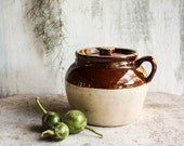 Vintage American Primitive Ransbottom Robinson Pottery Earthenware Bean Pot Crock with Handle and Marking Crown 3
