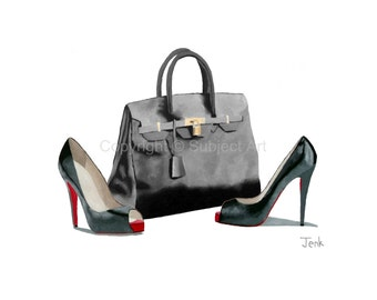 CHRISTIAN LOUBOUTIN Black Shoes, Hermes Birkin Bag Art Print, Fashion Gifts, Wall Art