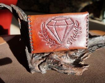 Simple sleek tooled diamond card cash wallet