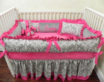 Custom Crib Bedding Set Emery - Girl Baby Bedding, Pink and Gray Crib Bedding