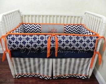 Custom Crib Bedding Set Luke - Boy Baby Bedding,  Navy and Orange Crib Bedding, Navy Chevron