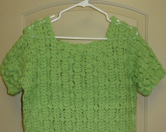 Vintage Green Crocheted Dress Swimsuit Cover Up